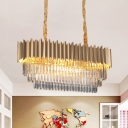 8 Lights Tiered Hanging Island Light Modern Clear Crystal Suspended Lighting Fixture in Gold for Restaurant