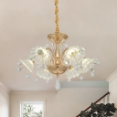 Clear Textured Crystal Flower Chandelier Contemporary 6 Lights Dining Room Hanging Lamp in Gold