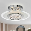 Chrome Finish 3-Light Semi Mount Lighting Modern Clear Glass Round Ceiling Lamp with Crystal Orb Drapes