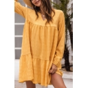 Casual Womens Ruffled Trimmed Long Sleeve V-neck Short Swing Dress in Yellow