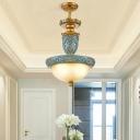 Blue Umbrella Pendant Light Fixture Traditional Opal Glass 3-Light Dining Room Suspension Lamp, 14.5