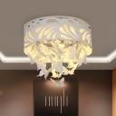 Cutouts Leaf Corridor Ceiling Flush Modern Acrylic White LED Flush Mounted Light with Dangling Crystal, Cutouts Leaf Corridor Ceiling Flush Modern Acrylic White 8/12-Light/LED Flush Mounted Light with Dangling Crystal, 12.5