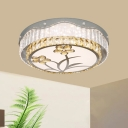 Modern Drum Ceiling Flush Beveled Crystal LED Flush Mount Light with Embossed Flower Pattern
