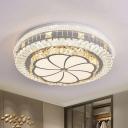 Stainless Steel Flower Ceiling Flush Modernist Cut Crystal Bedroom LED Flush Mount Light Fixture