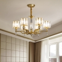 6/8-Bulb Cylindrical Chandelier Postmodern Gold Prismatic Crystal Hanging Ceiling Light for Living Room