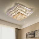 Tiered Crystal Balls Flush Mount Lighting Modern LED Stainless-Steel Ceiling Mount Light Fixture for Bedroom