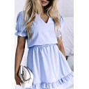 Formal Girls Solid Color Stringy Selvedge Short Sleeve V-neck Mini A-line Pleated Dress