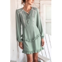 Amazing Girls Stringy Selvedge Hollow out Panel Long Sleeve Bow-tie V-neck Short A-line Dress in Green