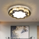 Contemporary Scalloped Ceiling Lamp Beveled Crystal LED Flush Mount Light Fixture in Chrome