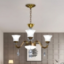 Crystal Prisms Bell Ceiling Light Modern 3/6/8-Bulb Chandelier Lighting Fixture in Gold for Sitting Room