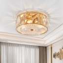 Drum Ceiling Mounted Fixture Contemporary Rectangle-Cut Crystal 4-Light Bedroom Flush Mount Lamp in Gold