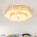 Contemporary Round/Flower Flush Mount Beveled Crystal Living Room LED Ceiling Mounted Fixture in Champagne