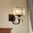 1/2-Head Cuboid Wall Mount Lamp Contemporary Clear Crystal Sconce Light Fixture in Black with Droplet