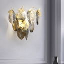 Crystal Leaf Wall Lamp Postmodern 2-Head Dining Room Flush Mount Wall Sconce in Gold