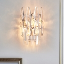 2-Head Raindrops Sconce Light Contemporary Clear Crystal Wall Mounted Light for Bedroom