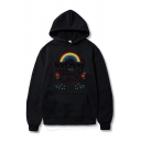 Basic Letter Every Thing Will Be Ok Rainbow Graphic Long Sleeve Pouch Pocket Loose Fit Hoodie