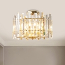Gold Drum Ceiling Fixture Contemporary Clear Crystal Rectangles 6 Lights Semi-Flush Mount for Hallway