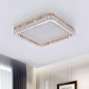 Modern LED Square Ceiling Lighting Crystal Block Dining Room Flush Mount Light Fixture in White