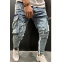 Popular Cool Boys Mid Rise Flap Pockets Ripped Striped Cuffed Relaxed Jeans (Pictures for Reference)