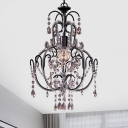 Traditional Gourd Frame Suspension Light 1 Bulb Crystal Bead Hanging Ceiling Lamp in Black