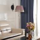 Champagne Conic Shade Standing Floor Lamp Contemporary 1 Bulb Pleated Fabric Floor Light