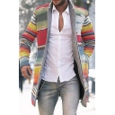Unique Rainbow Striped Long Sleeves Stand Collar Open Front Tunic Wool Coat