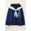Preppy Looks Chinese Letter Chick Graphic Long Sleeve Sailor Collar Loose Fit Hoodie