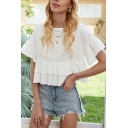 Pretty Womens Ruffled Bell Short Sleeve Crew Neck Bi-layered Relaxed Crop T Shirt in White