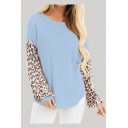 Casual Womens Leopard Print Panel Long Sleeve Round Neck Curved Hem Relaxed Fit Sweatshirt