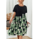 Fashionable Geometric Printed Short Sleeve Round Neck Patchwork Short Swing Dress in Green