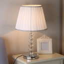 Chrome Barrel Shade Night Table Light Traditional Fabric 1 Head Bedroom Desk Lamp with Crystal Balls Stand