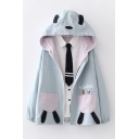 Girls Cute Letter Play Games Bear Graphic Long Sleeve Hooded Zip Up Relaxed Fit Jacket