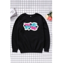 Fashion Letter Treat People With Kindness Print Long Sleeve Crew Neck Oversize Pullover Sweatshirt in Black