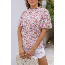 Pink Casual Womens All over Floral Print Stringy Selvedge Mock Neck Ruffle Sleeves Regular Fit Tee Top