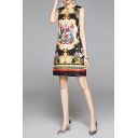 Ethnic Womens Baroque Patterned Sleeveless Crew Neck Short A-line Dress in Black