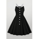 Hot Popular Color Block Button Up Zip Pleated Waisted Crew Neck Sleeveless Midi Swing Dress in Black
