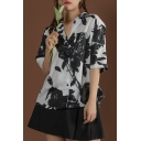 Stylish Womens Allover Flower Printed Short Sleeve Notched Collar Button-up Chest Pocket Relaxed Fit Shirt Top in White