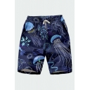 Chic 3D Relax Shorts Cartoon Animal Jellyfish Octopus Leaf Line Pattern Drawstring Pocket Straight Fit Mid Rise Knee Length Relax Shorts for Men