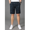 Popular Shorts All over Branch Printed Applique Pocket Drawstring Mid Rise Regular Fitted Shorts for Men
