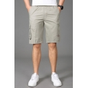 Unique Cargo Shorts Abstract Letter Embroidery Flap Pocket Applique Mid Rise Regular Fit Cargo Shorts for Men