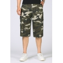 Leisure Mens Cargo Shorts Camo Pattern Flap Pocket Zipper Fly Mid Rise Regular Fitted Cargo Shorts