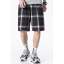 Chic Mens Shorts Plaid Pattern Pocket Drawstring Mid Rise Regular Fitted Shorts