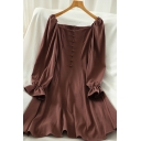 Elegant Ladies Plain Button Embllished Zipper Back Stringy Selvedge Long Puff Sleeve Off the Shoulder Mini A-Line Dress