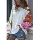 Trendy Womens Tie Dye Patchwork Boat Neck Batwing Long Sleeve Relaxed Tee Top in White