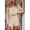 Sexy Womens Solid Color Knit Long Sleeve V-neck Button Up Relaxed Crop Sweater & Shorts Set