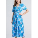 Blue Unique All over Floral Print Gathered Waist Surplice Neck Short Sleeve Midi A-Line Dress for Women