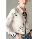 Elegant Womens Star Printed Tie Front Button Up Peter Pan Collar Long Sleeve Regular Fit Shirt in Beige