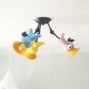 Bird Semi Flush Mount Light Cartoon Metallic 3 Lights Pink/Yellow/Blue Flushmount Lighting for Kids Bedroom
