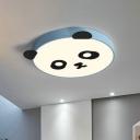 Acrylic Panda Flush Ceiling Light Cartoon LED Flush Mount Lighting in Pink/Blue for Kids Bedroom