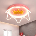 Crown Girls Bedroom Flush Ceiling Light Acrylic LED Cartoon Flush Mount Fixture in Pink/Gold